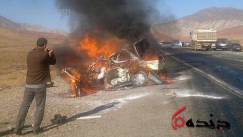 صحنه وحشتناک سوختن یکی از هموطنان در خودرو سانحه دیده و فیلم برداری فرد حاضر در محل از این شرایط دهشتناک