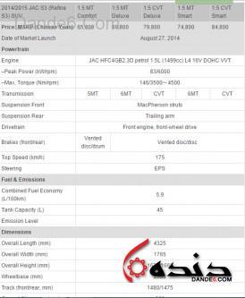 مشخصات فنی جک S3 - JAC S3