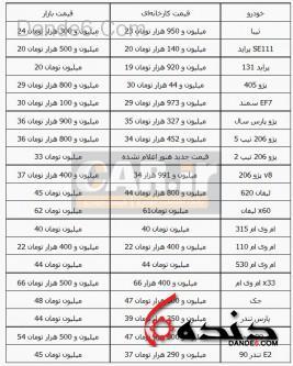 قیمت خودروهای داخلی تابستان 94